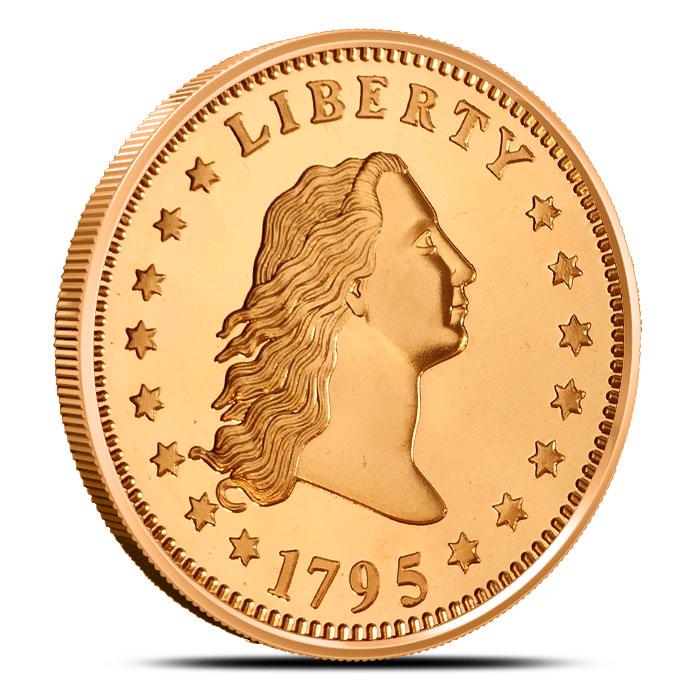 Flowing Hair Dollar 1 oz Copper Round