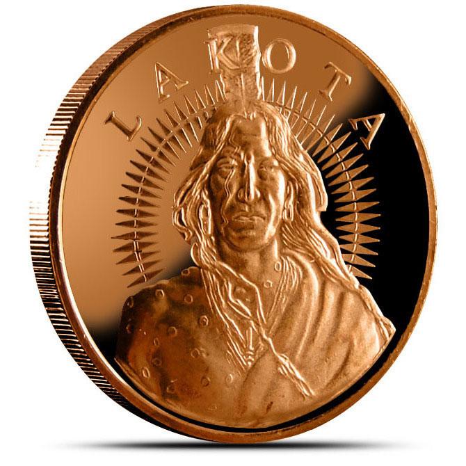 "Lakota ""Crazy Horse"" 1 AVDP oz .999 Fine Copper Round Obverse"