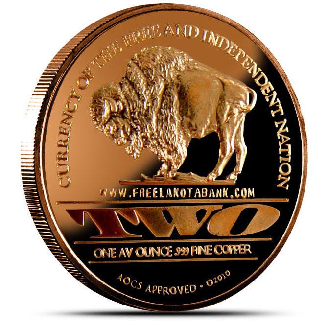 "Lakota ""Crazy Horse"" 1 AVDP oz .999 Fine Copper Round Reverse"