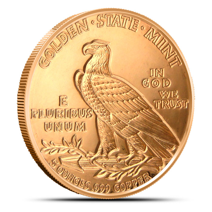 Incuse Indian 5 ounce Copper Round Reverse