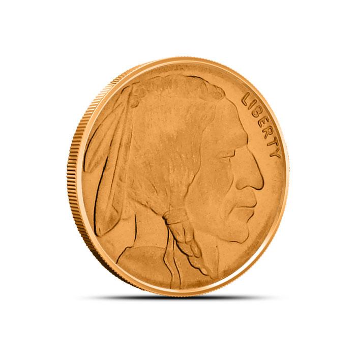 Buffalo Nickel Fourth oz Copper Round Obverse