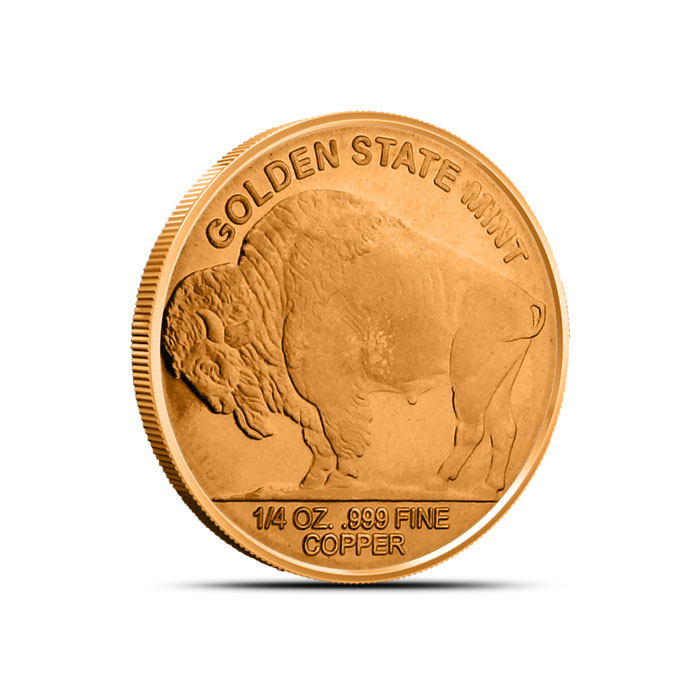 Buffalo Nickel 1/4 oz Copper Round Reverse