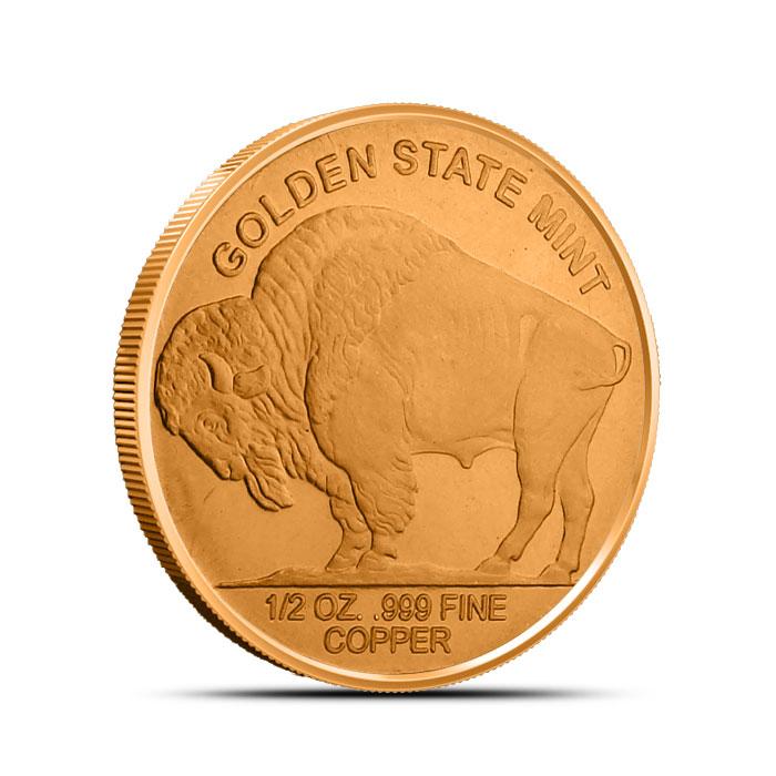 Buffalo Nickel Half oz Copper Round Reverse