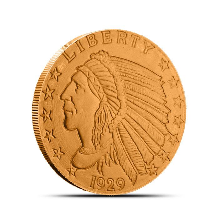 Incuse Indian 1/2 oz Copper Round Obverse