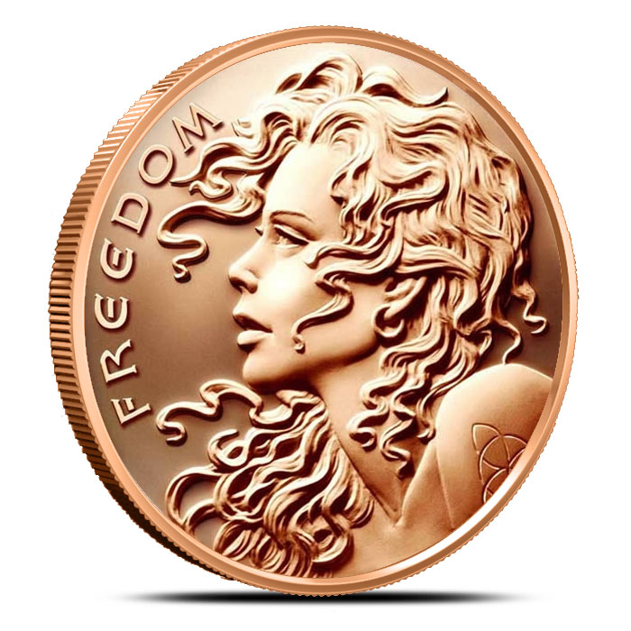 5 oz Copper Freedom Girl Round Silver Shield Series