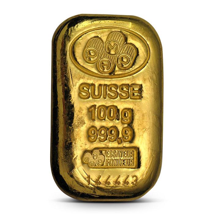 100 gram PAMP Suisse Poured Gold Bar