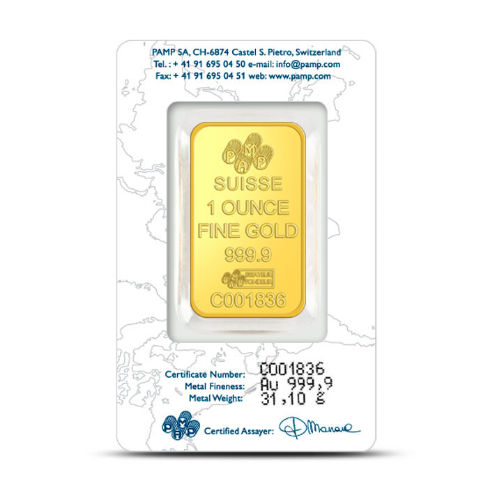 1 oz PAMP Suisse Gold Bars New Design Back