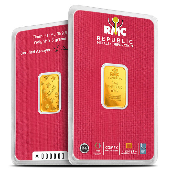 2.5 gram Republic Metals Gold Bar