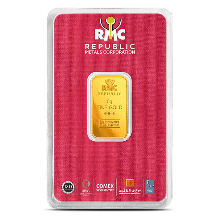 Republic Metals 5 gram Gold Bar in Assay card