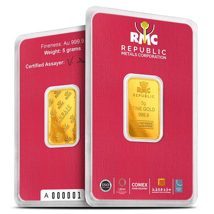 5 gram Republic metals Gold Bar