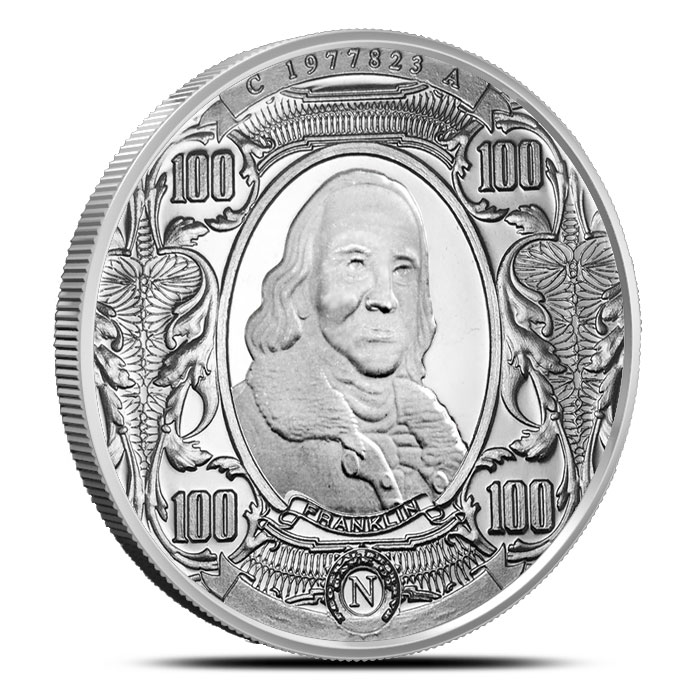 $100 Benjamin Franklin 1 oz Nickel Round