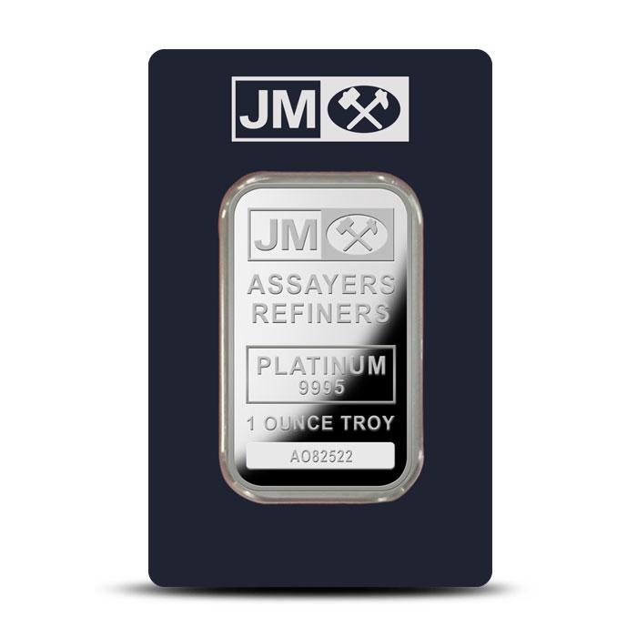 Johnson Matthey 1 oz Platinum Bar Obverse