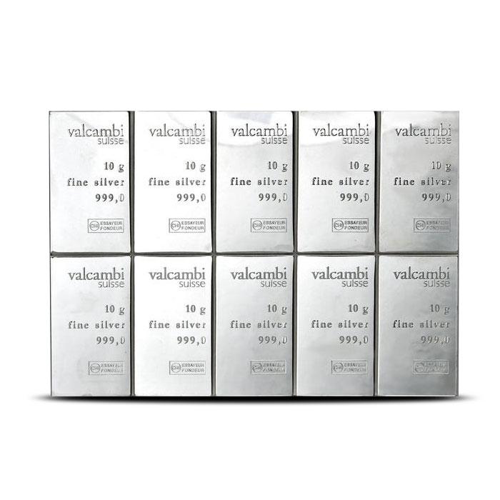 10 X 10 gram Silver CombiBar | 100 gram Silver Bar