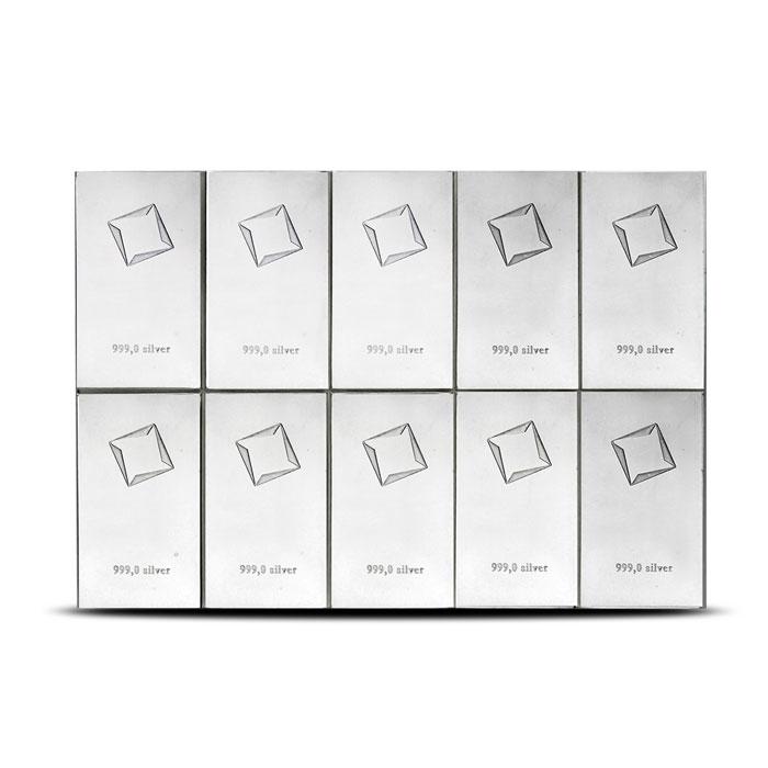100 gram Silver Bar | Valcambi 10 X 10