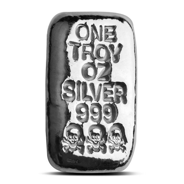 1 oz Atlantis Mint Skull Crossbones Hand Poured Silver Bar