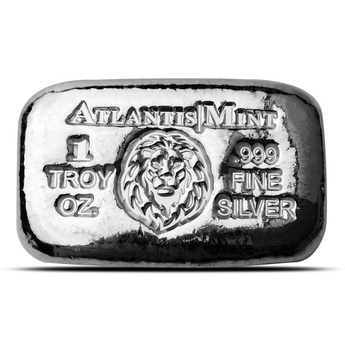 1 oz Atlantis Mint Lion Hand Poured Silver Bar