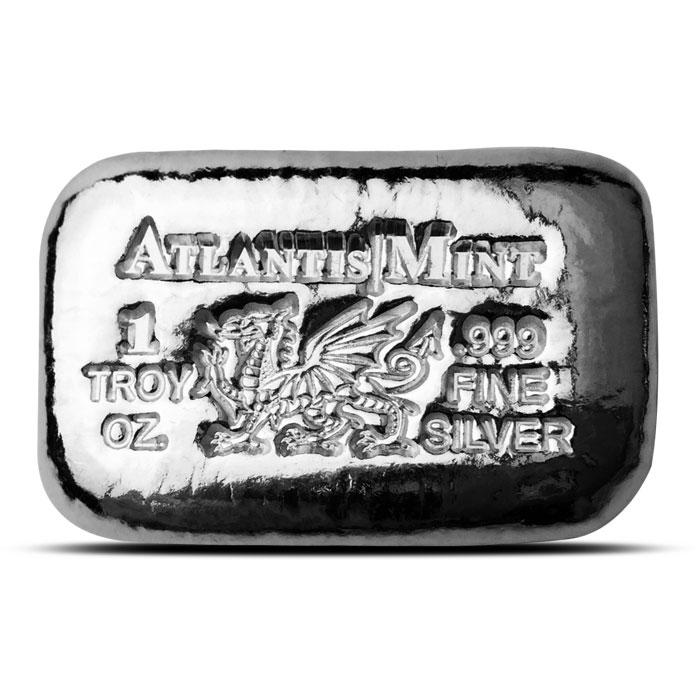 1 oz Atlantis Mint Dragon Hand Poured Silver Bar