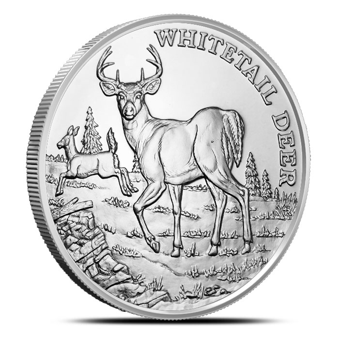 Whitetail Deer 1 oz Silver Round | American Wildlife Series
