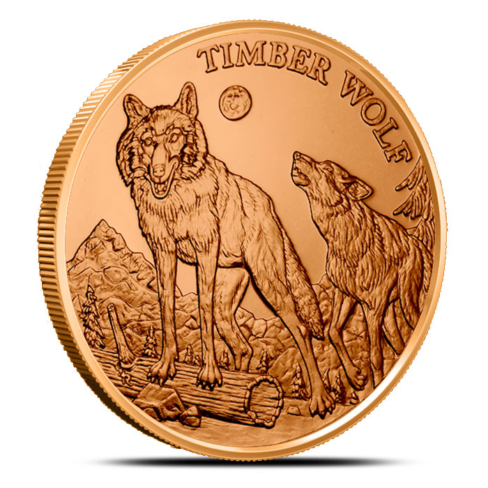 Timber Wolf 1 oz Copper Round | American Wildlife Series