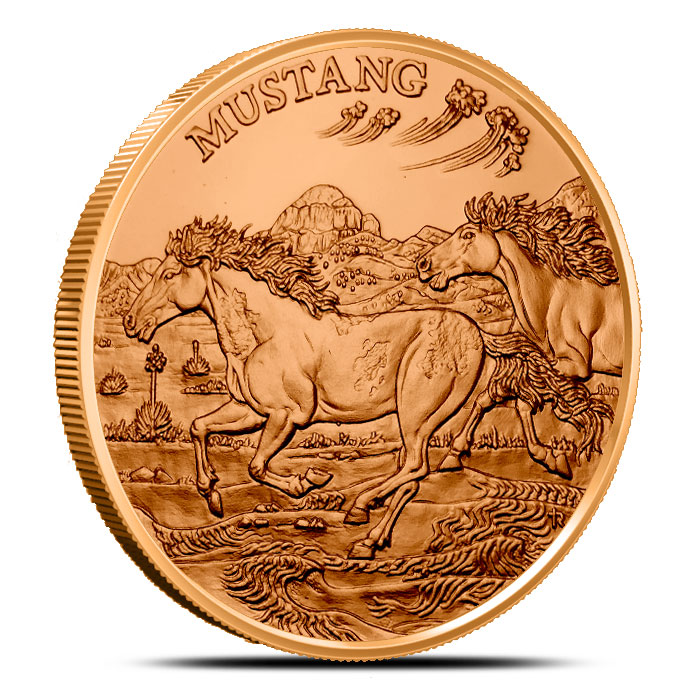 Mustang 1 oz Copper Round | American Wildlife Series