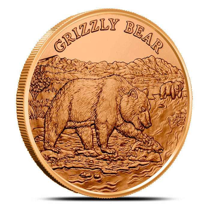 Grizzly Bear 1 oz Copper Round | American Wildlife Series