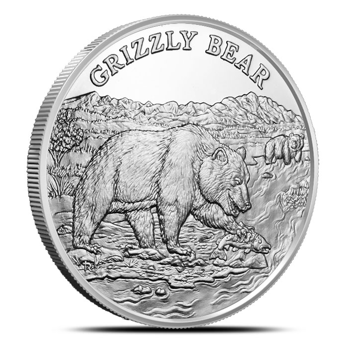 Grizzly Bear 1 oz Silver Round | American Wildlife Series