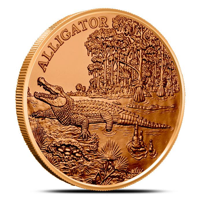 Alligator 1 oz Copper Round | American Wildlife Series