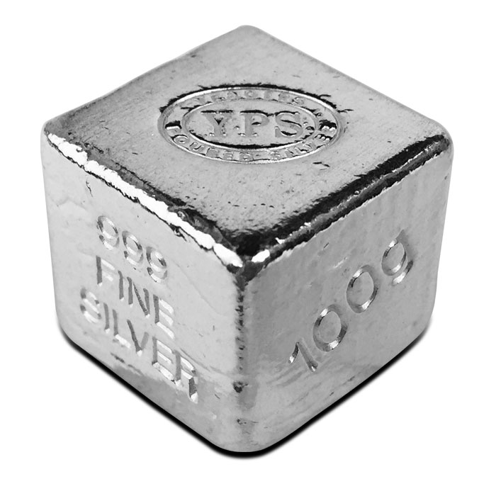 Yeager Poured Silver 100 gram Cube