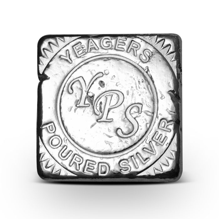 Yeager Poured Silver 5 oz Cube