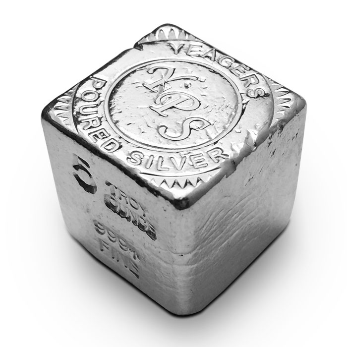 Yeager 5 oz Poured Silver Cube
