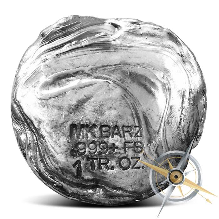 1 oz Poured Silver Pirate Round | MK BarZ