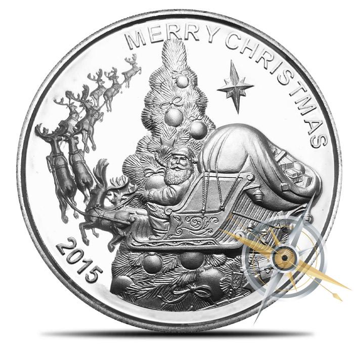 2015 Santa Claus 1 oz Silver High Relief Round