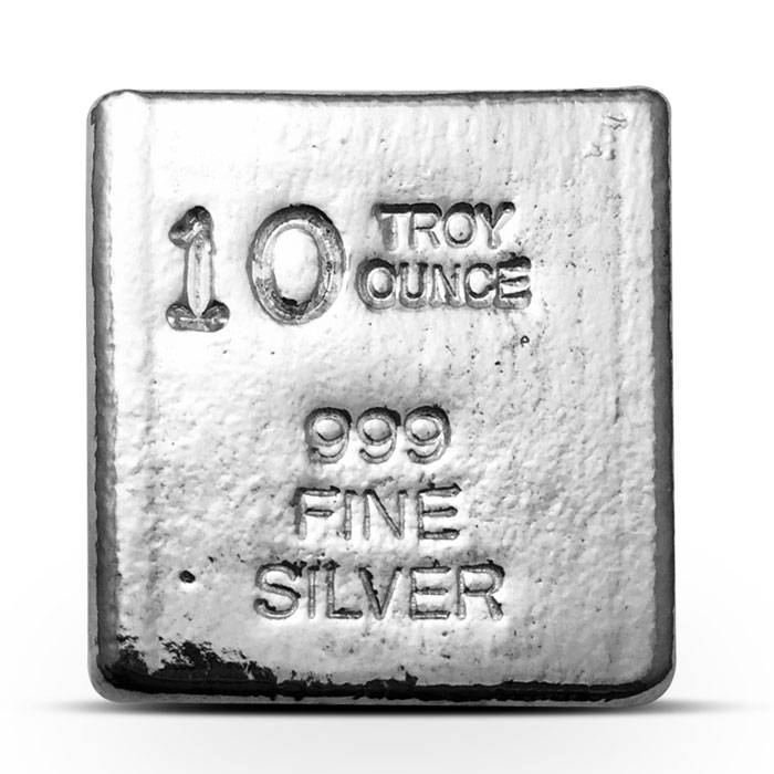 10 oz Poured Silver Cube | Yeager Poured Silver