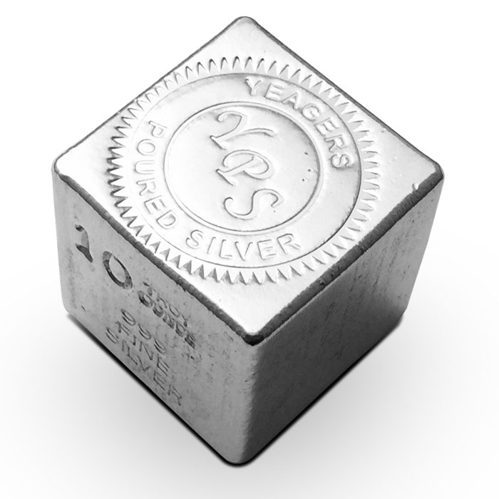 Yeager 10 oz Poured Silver Cube | YPS