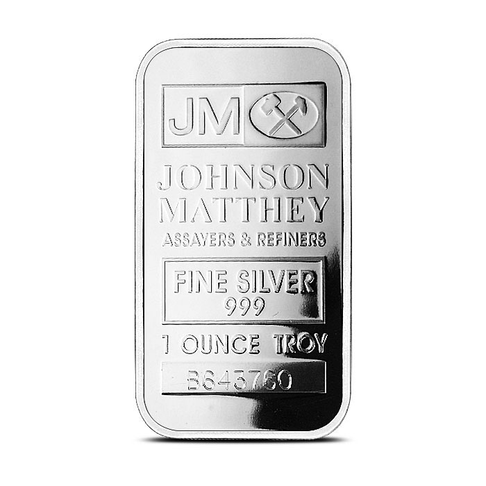 1 oz Silver Bar Johnson Matthey Front