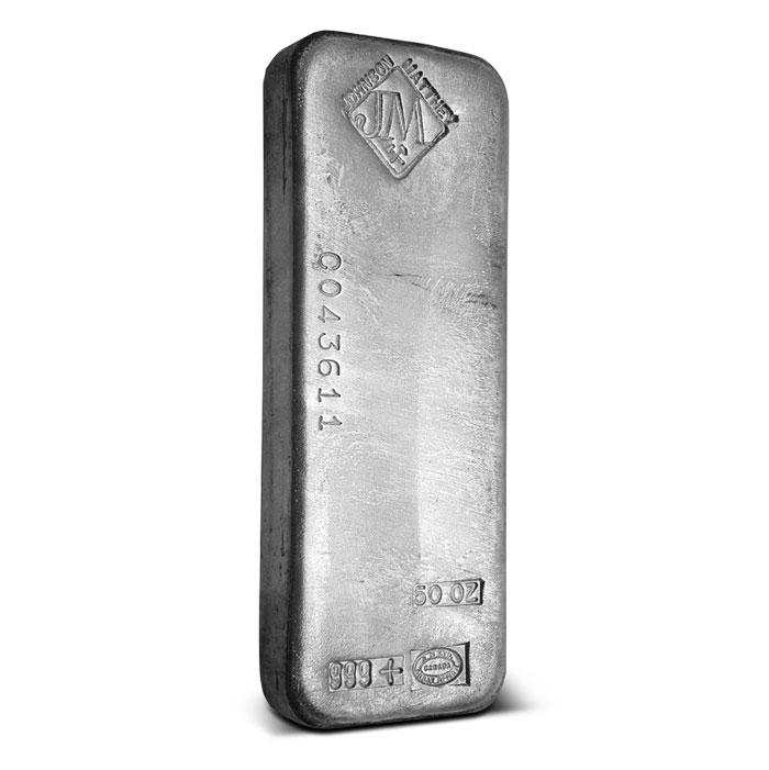 Johnson Matthey 50 oz .999 Fine Silver Bars Assay