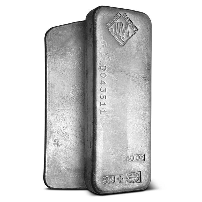 Johnson Matthey 50 oz .999 Fine Silver Bars