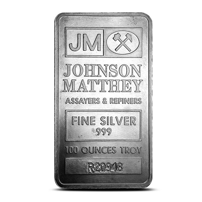 Johnson Matthey 100 oz Silver Bar Pressed Bar