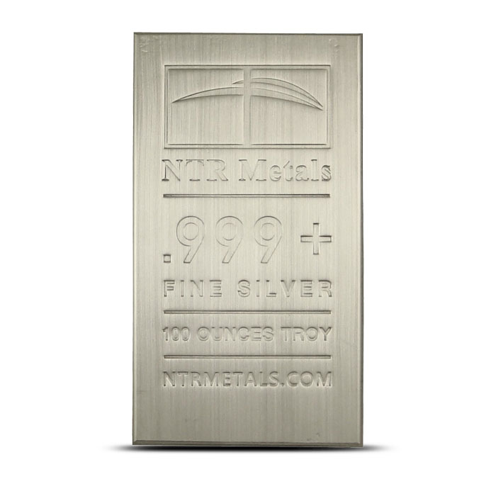 100 oz NTR Metals .999 Fine Silver Bullion Bar Front