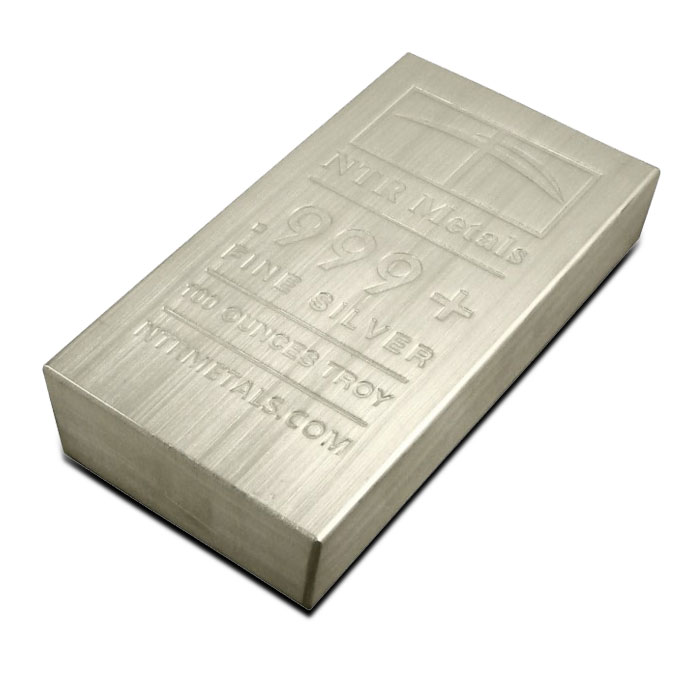 100 oz NTR Metals .999 Fine Silver Bullion Bar Top
