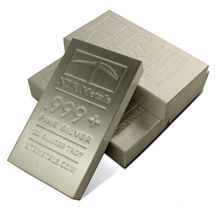 100 oz NTR Metals .999 Fine Silver Bullion Bars