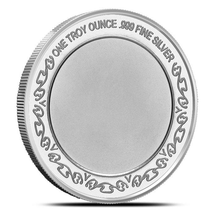 US Army National Guard 1 oz .999 Fine Silver Bullion Round Reverse