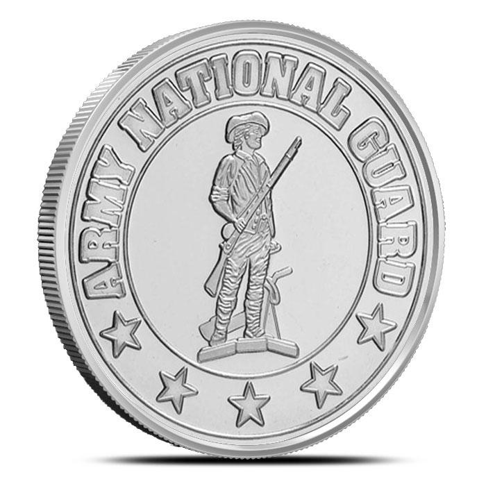 US Army National Guard 1 oz .999 Fine Silver Bullion Round Obverse