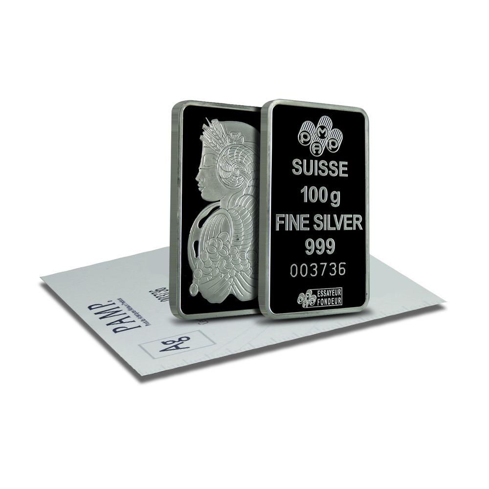 PAMP Suisse 100 gram Fortuna Silver Bars .999 Fine