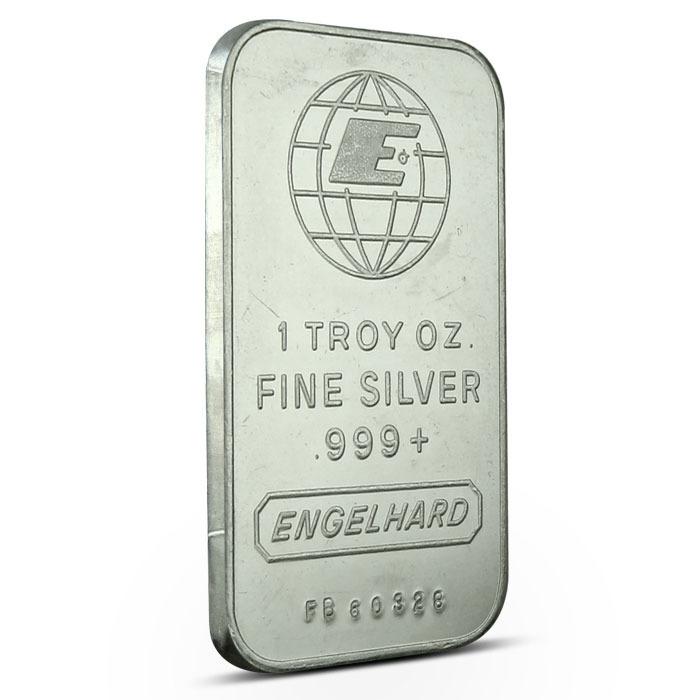 Engelhard Small E Logo 1 oz Silver Bar Obverse