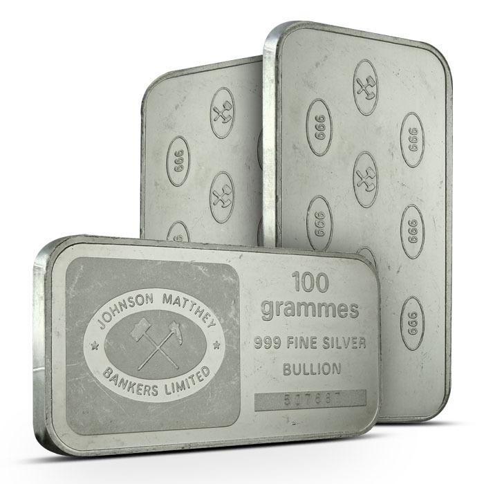 Johnson Matthey Bankers Ltd 100 gram Silver Bar