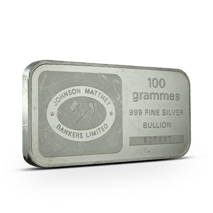 Johnson Matthey Bankers 100 g silver bar Obverse