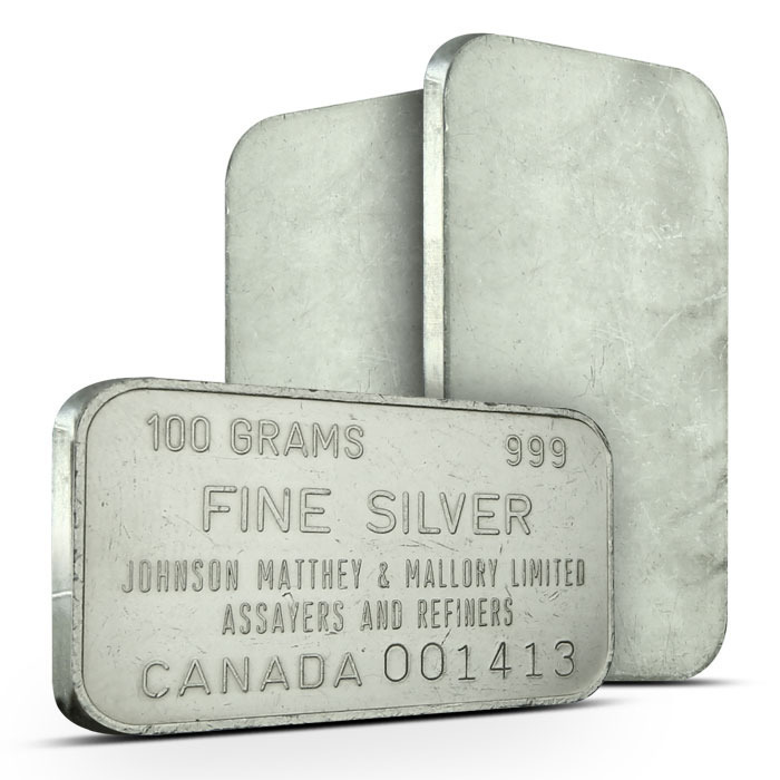 Johnson Matthey and Mallory Canada 100 g Bar