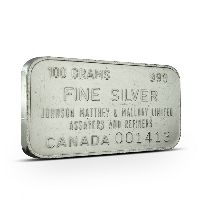 Johnson Matthey & Mallory Ltd. Canada 100 g bar Obverse