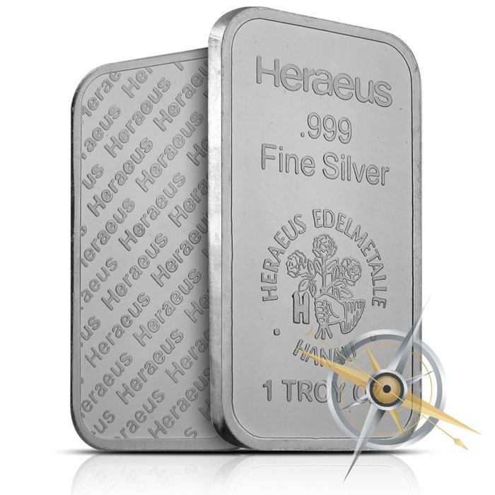 Heraeus 1 ounce silver bar
